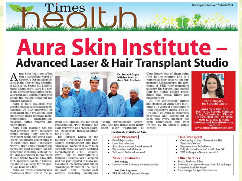 "Aura Skin Institute figuring in front page of Times Health pullout of ""The Times of India"""