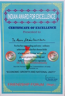 India Award for Excellence Certifcate