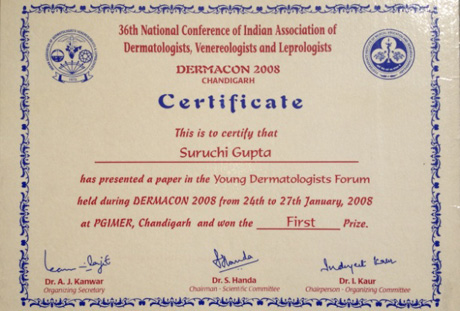 Young Dermatologist Certificate, 2008